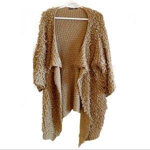 Tan chunky loop knit waterfall cardigan